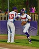 Cortland Crush Chris Rupprecht (10) greeting Jose Arebalo (7) before playing the Oneonta Outlaws in a NYCBL Playoff game on Greg's Field at Beaudry Park in Cortland, New York on Monday, July 27, 2015.