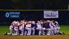 Cortland Crush players huddle up after a NYCBL Playoff game against the Oneonta Outlaws on Greg's Field at Beaudry Park in Cortland, New York on Monday, July 27, 2015. Cortland won 4-3.