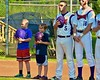Cortland Crush Bat Boys standing for the National Anthem on Greg's Field at Beaudry Park in Cortland, New York on Monday, July 27, 2015.