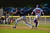 Cortland Crush Luke Gilbert (27) beats out the throw to First Base for a base hit against the Oneonta Outlaws in a NYCBL Playoff game on Greg's Field at Beaudry Park in Cortland, New York on Monday, July 27, 2015. Cortland won 4-3.