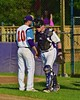 Cortland Crush Chris Rupprecht (10) greeting George Haaland (34) before playing the Oneonta Outlaws in a NYCBL Playoff game on Greg's Field at Beaudry Park in Cortland, New York on Monday, July 27, 2015.