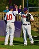 Cortland Crush Chris Rupprecht (10) greeting Zephan Kash (25) before playing the Oneonta Outlaws in a NYCBL Playoff game on Greg's Field at Beaudry Park in Cortland, New York on Monday, July 27, 2015.