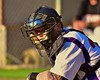 Cortland Crush Catcher George Haaland (34) behind the plate against the Oneonta Outlaws in a NYCBL Playoff game on Greg's Field at Beaudry Park in Cortland, New York on Monday, July 27, 2015. Cortland won 4-3.