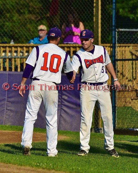 Cortland Crush Chris Rupprecht (10) greeting Matthew Alberino (5) before playing the Oneonta Outlaws in a NYCBL Playoff game on Greg's Field at Beaudry Park in Cortland, New York on Monday, July 27, 2015.