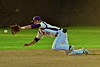Cortland Crush Nick Panissidi (31) dives and misses a hit ball by an Oneonta Outlaws player in a NYCBL Playoff game on Greg's Field at Beaudry Park in Cortland, New York on Monday, July 27, 2015. Cortland won 4-3.