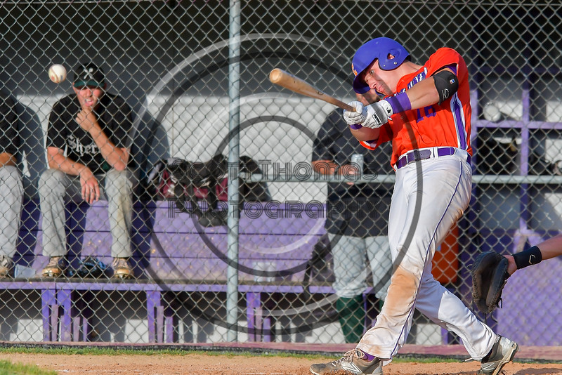 Cortland Crush Ethan Moore (16) hits the ball against the Sherrill Silversmiths on Greg's Field at Beaudry Park in Cortland, New York on Tuesday May 31, 2016. Cortland won 16-3.