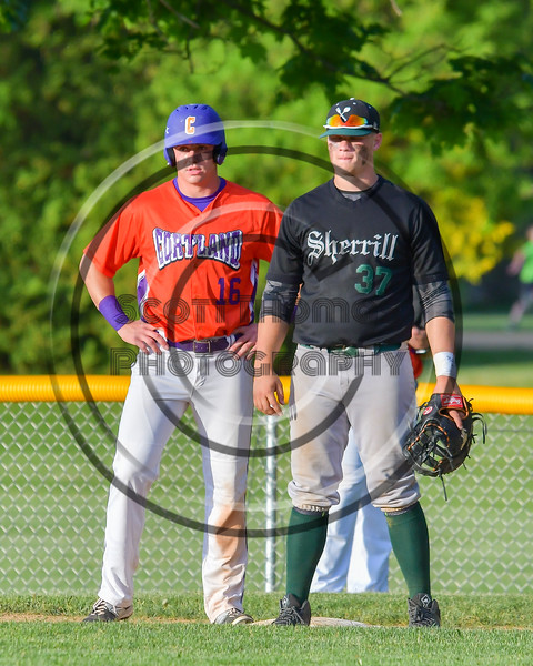 Cortland Crush Ethan Moore (16) and Sherrill Silversmiths Ryan Coulon (37) at first base on Greg's Field at Beaudry Park in Cortland, New York on Tuesday May 31, 2016. Cortland won 16-3.