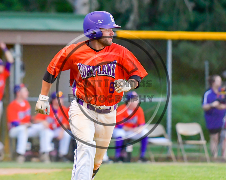 Cortland Crush David Murphy (8) running the bases after hitting a home run against the Sherrill Silversmiths on Greg's Field at Beaudry Park in Cortland, New York on Tuesday May 31, 2016. Cortland won 16-3.