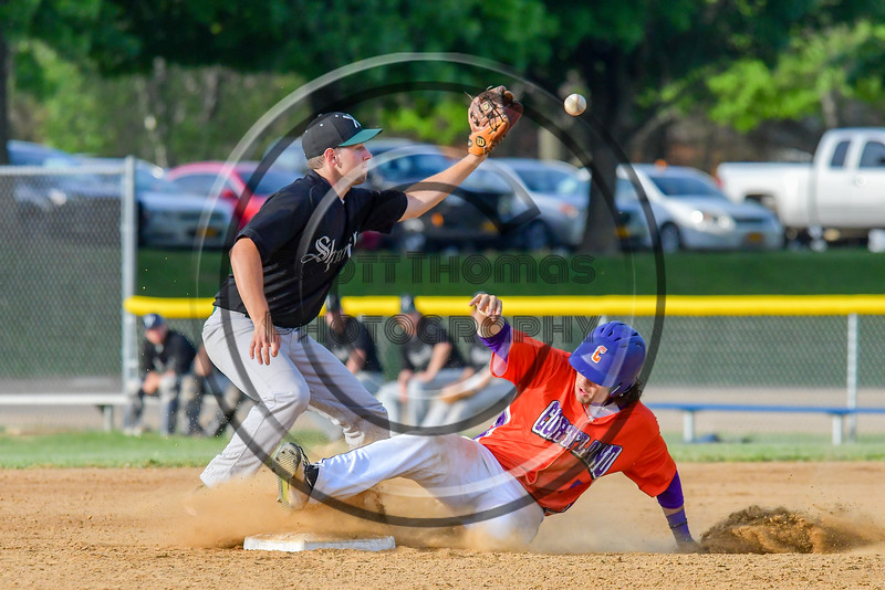Cortland Crush Luke Gilbert (5) steals second base against the Sherrill Silversmiths on Greg's Field at Beaudry Park in Cortland, New York on Tuesday May 31, 2016. Cortland won 16-3.