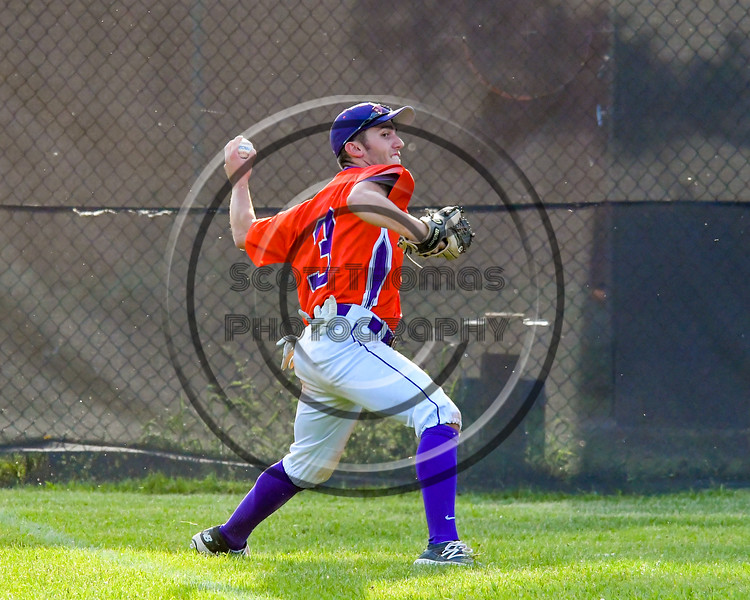 Cortland Crush Broderick Santilli (3) playing the ball in the outfield against the Sherrill Silversmiths on Greg's Field at Beaudry Park in Cortland, New York on Tuesday May 31, 2016. Cortland won 16-3.