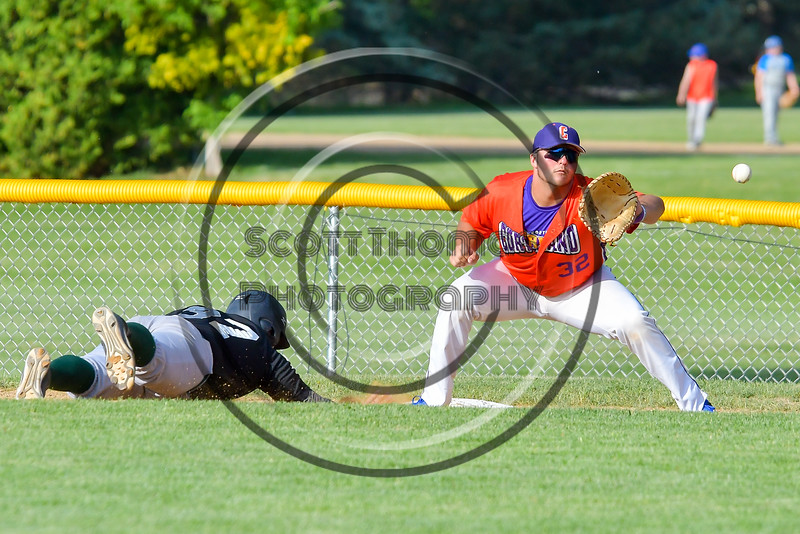 Cortland Crush Andrew Taft (32) playing first basae gainst the Sherrill Silversmiths on Greg's Field at Beaudry Park in Cortland, New York on Tuesday May 31, 2016. Cortland won 16-3.