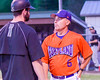Cortland Crush Manager Bill McConnell talking with the Sherrill Silversmiths Manager on Greg's Field at Beaudry Park in Cortland, New York on Tuesday May 31, 2016. Cortland won 16-3.