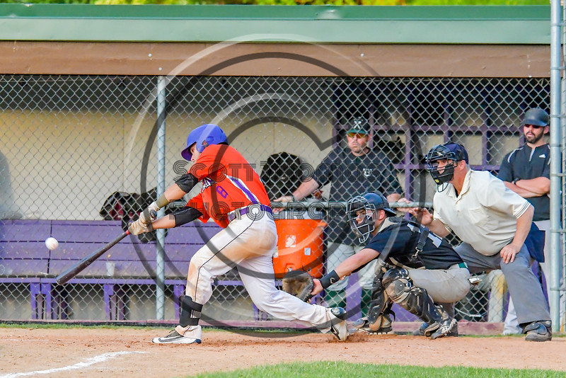Cortland Crush David Murphy (8) gets a hit against the Sherrill Silversmiths on Greg's Field at Beaudry Park in Cortland, New York on Tuesday May 31, 2016. Cortland won 16-3.