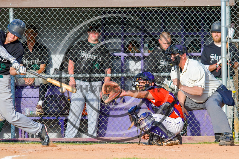 Cortland Crush Catcher behind the plate against the Sherrill Silversmiths on Greg's Field at Beaudry Park in Cortland, New York on Tuesday May 31, 2016. Cortland won 16-3.