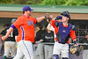Cortland Crush Tyler Saundry (35) gets a high five after pitching against the Sherrill Silversmiths on Greg's Field at Beaudry Park in Cortland, New York on Tuesday May 31, 2016. Cortland won 16-3.