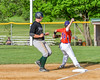 Cortland Crush Patrick Messinger (14) tags Sherrill Silversmiths player out at third base on Greg's Field at Beaudry Park in Cortland, New York on Tuesday May 31, 2016. Cortland won 16-3.