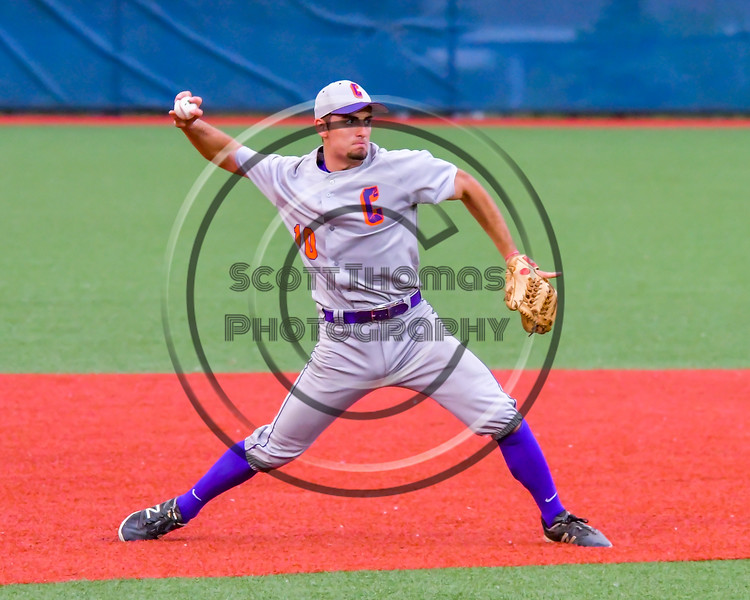 Cortland Crush Paul Ludden (10) throwing the ball to First Base for an out against the Syracuse Junior Chiefs in Syracuse, New York on Thursday June 2, 2016. Cortland won 6-0.