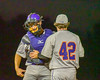 Cortland Crush Clayton Jeffries (42) talks with his catcher during a time out against the Syracuse Junior Chiefs in Syracuse, New York on Thursday June 2, 2016. Cortland won 6-0.