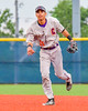 Cortland Crush Josua Lopez (21) after throwing the ball to First Base for an out against the Syracuse Junior Chiefs in Syracuse, New York on Thursday June 2, 2016. Cortland won 6-0.