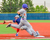 Cortland Crush Joey Assenza  (4) gets thrown out at First Base against the Syracuse Junior Chiefs in Syracuse, New York on Thursday June 2, 2016. Cortland won 6-0.