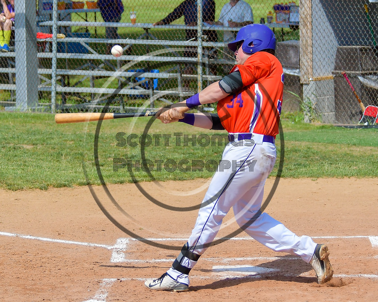 Cortland Crush George Haaland (34) pops the ball up against the Rome Generals on Greg's Field at Beaudry Park in Cortland, New York on Saturday June 4, 2016. Cortland won 9-5.