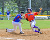 Cortland Crush Broderick Santilli (3) gets tagged out at First Base against the Rome Generals on Greg's Field at Beaudry Park in Cortland, New York on Saturday June 4, 2016. Cortland won 9-5.