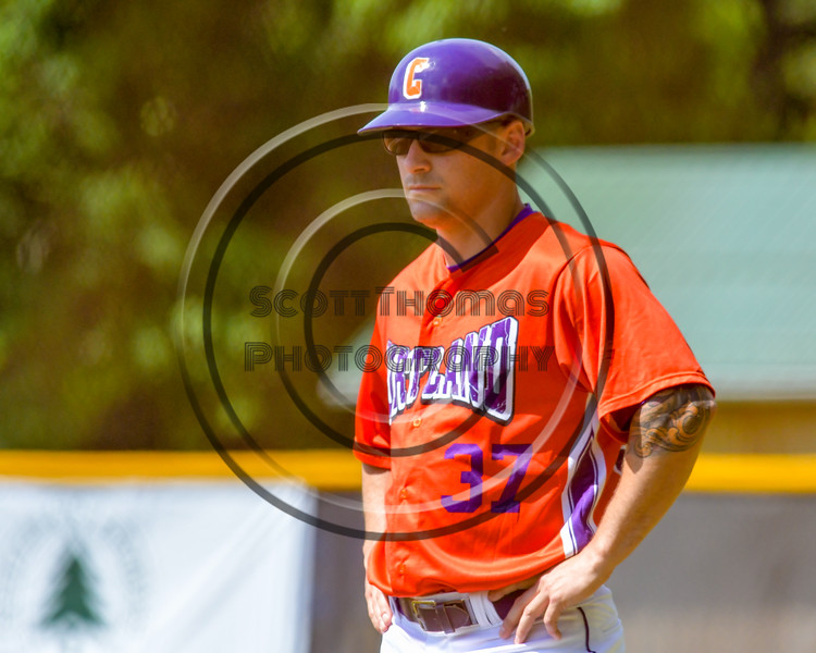 Cortland Crush First Base Coach Billy McConnell Jr. on Greg's Field at Beaudry Park in Cortland, New York on Saturday June 4, 2016. Cortland won 9-5.
