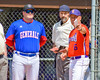 Cortland Crush Manager Bill McConnell pointing out field rules to the Rome Generals Manager and Home Plate Umpire on Greg's Field at Beaudry Park in Cortland, New York on Saturday June 4, 2016.