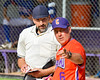 Cortland Crush Manager Bill McConnell points out something the the Home Plate Umpire during a game against the Rome Generals on Greg's Field at Beaudry Park in Cortland, New York on Saturday June 4, 2016. Cortland won 9-5.