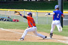 Cortland Crush Andrew Taft (32) about to catch the ball for an out at First Base against the Rome Generals on Greg's Field at Beaudry Park in Cortland, New York on Saturday June 4, 2016. Cortland won 9-5.