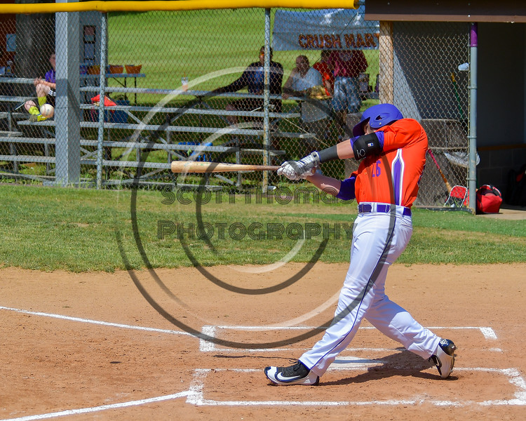 Cortland Crush Ethan Moore (16) smacks the ball for a hit against the Rome Generals on Greg's Field at Beaudry Park in Cortland, New York on Saturday June 4, 2016. Cortland won 9-5.