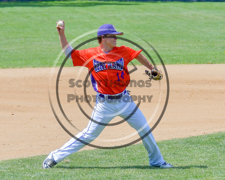 Cortland Crush Patrick Messinger (14) warming up before playing the Rome Generals on Greg's Field at Beaudry Park in Cortland, New York on Saturday June 4, 2016.
