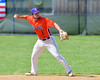 Cortland Crush Greg Mula (1) about to throw the ball to First Base for an out against the Rome Generals on Greg's Field at Beaudry Park in Cortland, New York on Saturday June 4, 2016. Cortland won 9-5.