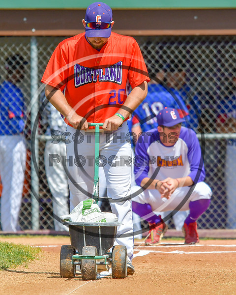 Cortland Crush Tommy Seaver (20) lining the third base line before a game against the Rome Generals on Greg's Field at Beaudry Park in Cortland, New York on Saturday June 4, 2016.