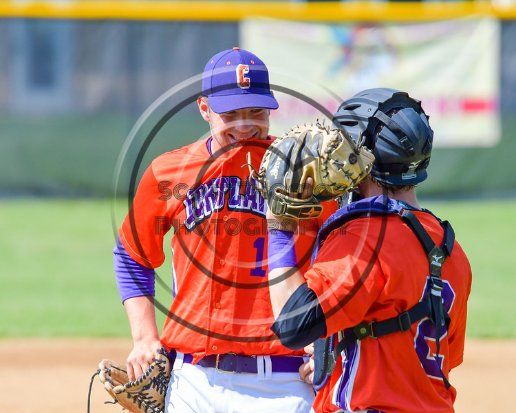 Cortland Crush Pitcher Stephan Witkowski (17) talkes with Catcher Anthony Searles (2) before starting an inning against the Rome Generals on Greg's Field at Beaudry Park in Cortland, New York on Saturday June 4, 2016. Cortland won 9-5.
