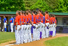 Cortland Crush line up for the National Anthem before playing the Rome Generals on Greg's Field at Beaudry Park in Cortland, New York on Saturday June 4, 2016.