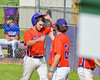 Cortland Crush Greg Mula (1) gets congratulated by Nathan Verst (24) after scoring a run against the Rome Generals on Greg's Field at Beaudry Park in Cortland, New York on Saturday June 4, 2016. Cortland won 9-5.