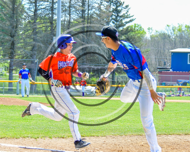 Cortland Crush Joey Assenza (4) is safe at first against the Rome Generals on Greg's Field at Beaudry Park in Cortland, New York on Saturday June 4, 2016. Cortland won 9-5.