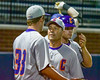 Cortland Crush Manager Bill McConnell talks with Blake Demeter (33) during a game against the Syracuse Salt Cats at OCC Turf Field in Syracuse, New York on Monday, June 6, 2016. Cortland won 4-2.