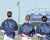 Members of the Syracuse Salt Cats during the National Anthem before playing the  Cortland Crush at OCC Turf Field in Syracuse, New York on Monday, June 6, 2016.