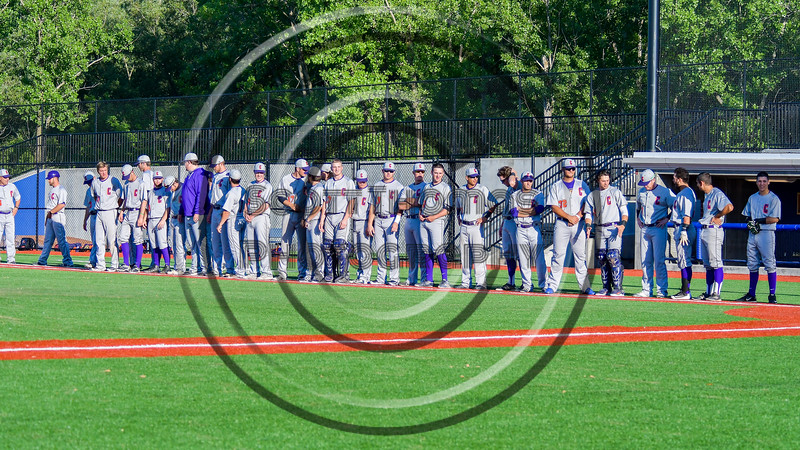 Cortland Crush lined up along the Frist Bast line during the National Anthem before playing the Syracuse Salt Cats at OCC Turf Field in Syracuse, New York on Monday, June 6, 2016.