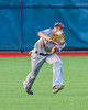 Cortland Crush Broderick Santilli (3) about to catch the ball for an out against the Syracuse Salt Cats at OCC Turf Field in Syracuse, New York on Monday, June 6, 2016. Cortland won 4-2.