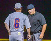 Cortland Crush Manager Bill McConnell discusss a call with Field Umpire in a game against the Syracuse Salt Cats at OCC Turf Field in Syracuse, New York on Monday, June 6, 2016. Cortland won 4-2.