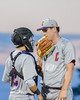 Cortland Crush Catcher Anthony Searles (2) talks with Aaron Edelmon (62) during a game against the Syracuse Salt Cats at OCC Turf Field in Syracuse, New York on Monday, June 6, 2016. Cortland won 4-2.