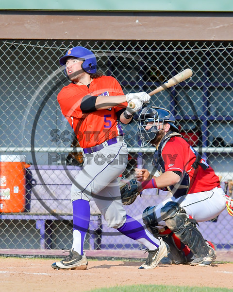 Cortland Crush Luke Gilbert (5) watches the ball he hit against the Capitol City Reds on Greg's Field at Beaudry Park in Cortland, New York on Thursday, June 9, 2016. Capitol City won 4-2.