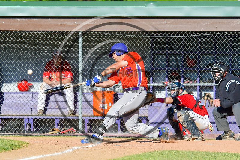 Cortland Crush Andrew Taft (32) hits the ball against the Capitol City Reds on Greg's Field at Beaudry Park in Cortland, New York on Thursday, June 9, 2016. Capitol City won 4-2.