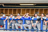 Cortland Crush players in the dugout during a game against the Syracuse Salt Cats at OCC Turf Field in Syracuse, New York on Wednesday, June 15, 2016. Cortland won 5-2.