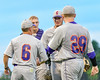 Cortland Crush Manager Bill McConnell talks with Stephan Witkowski (17) at the mound during a game against the Syracuse Salt Cats at OCC Turf Field in Syracuse, New York on Wednesday, June 15, 2016. Cortland won 5-2.