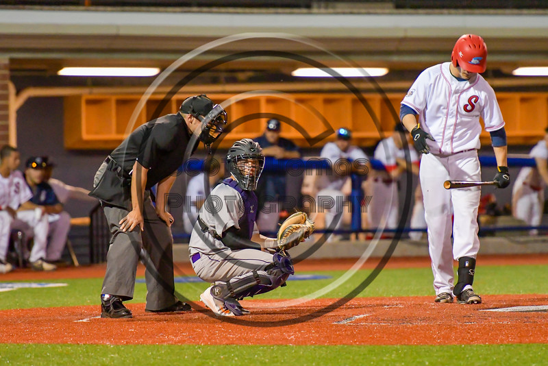 Cortland Crush vAnthony Searles (2) behind the plate against the Syracuse Salt Cats at OCC Turf Field in Syracuse, New York on Wednesday, June 15, 2016. Cortland won 5-2.