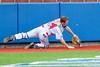 Syracuse Salt Cats Henry Pellicciotti (24) misplays a foul ball agianst the  Cortland Crush at OCC Turf Field in Syracuse, New York on Wednesday, June 15, 2016. Cortland won 5-2.